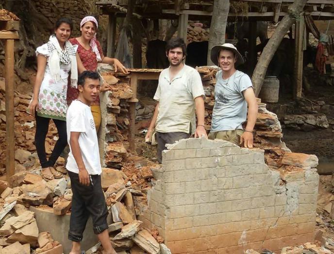 Tevel building latrines for Nepali villagers.