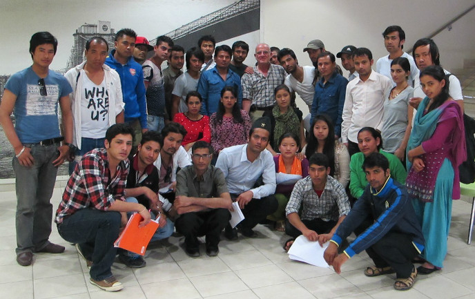 BGU Prof. Isralowitz, center, with some of the 119 Nepali students receiving psychosocial support in Israel. Photo by Dorit Segal-Engelchin