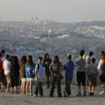 Tour participants enjoying the view from Jerusalem's Armon HaNatziv Promenade. Photo by Miriam Alster/FLASH90