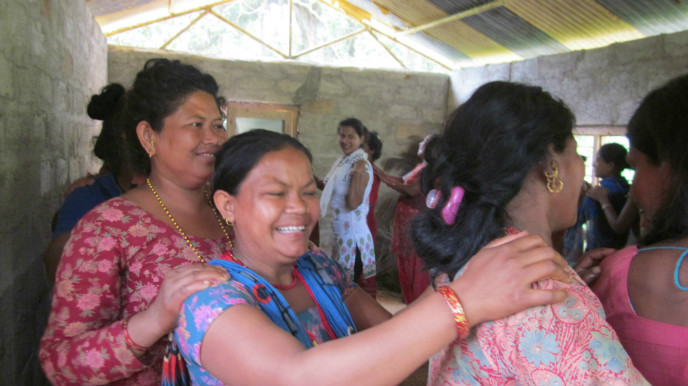 A women's group meeting for psychosocial support in Mahadev Besi. Photo by Naomi Baum