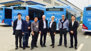 Ziv Av representatives, Dr. Amir Ziv Av and Ziva Patir (center), visit BYD company's factory in Nanjing, China.