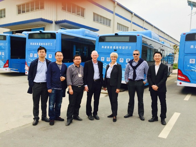 Ziv Av representatives, Dr. Amir Ziv Av and Ziva Patir (center), visit BYD company's factory in Nanjing, China.
