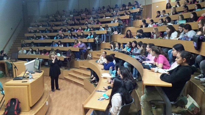 Ninth-grade Magshimim girls attending a lecture at the Shamoon College of Engineering in Beersheva.