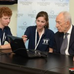 Magshimim participants with former Israeli President Shimon Peres at an international cyber conference. Photo by Mark Neiman