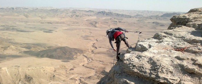 Rappelling at Makhtesh Ramon. Photo by Abigail Klein Leichman