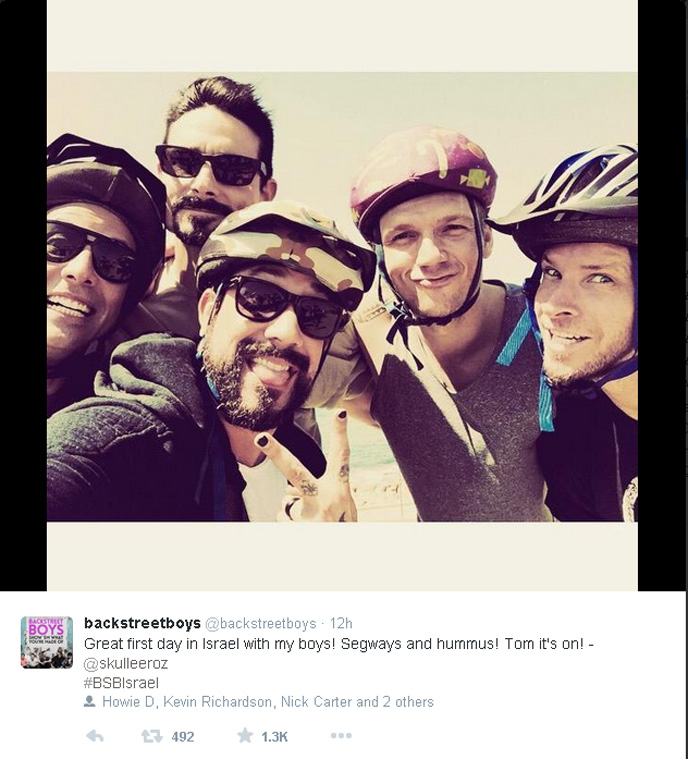 The Backstreet Boys tour Tel Aviv-Yafo. (Photo from Howie D's Twitter page)
