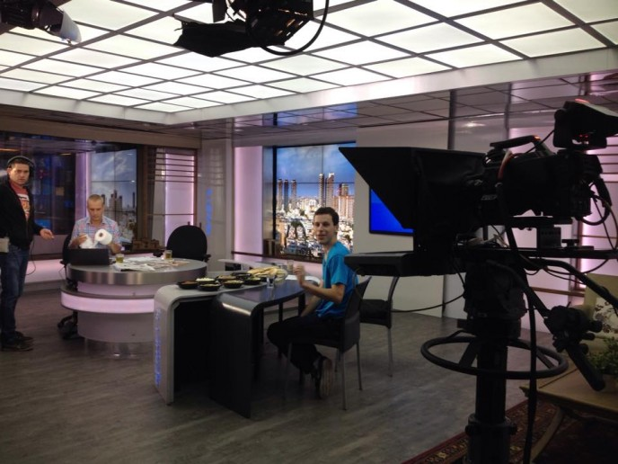 Ben Lang interviewed this morning on Israeli TV about International Hummus Day.