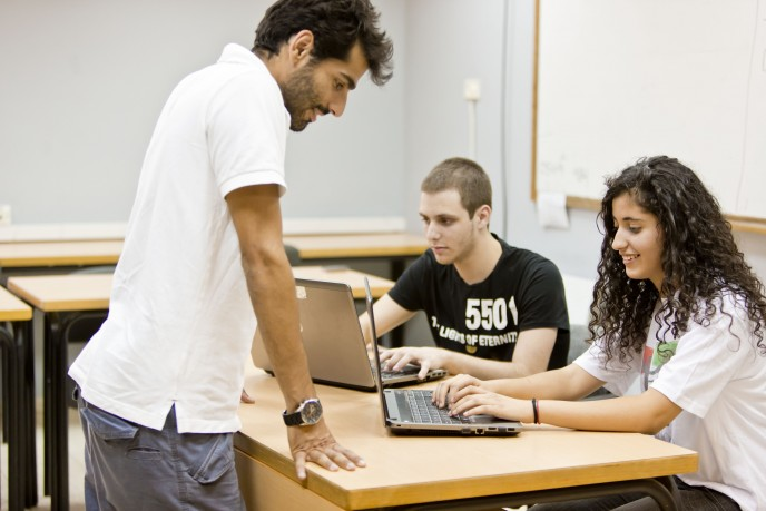 Magshimim teachers are college students with a background in cyber-tech. Photo by Kfir Bolotin