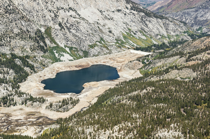 Water levels are dropping fast at the South Lake Reservoir in California because of the prolonged drought. Photo via www.shutterstock.com
