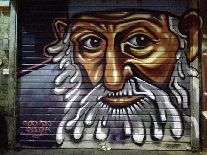 Souza's spray-painted depiction of Rabbi Yosef Kaduri.