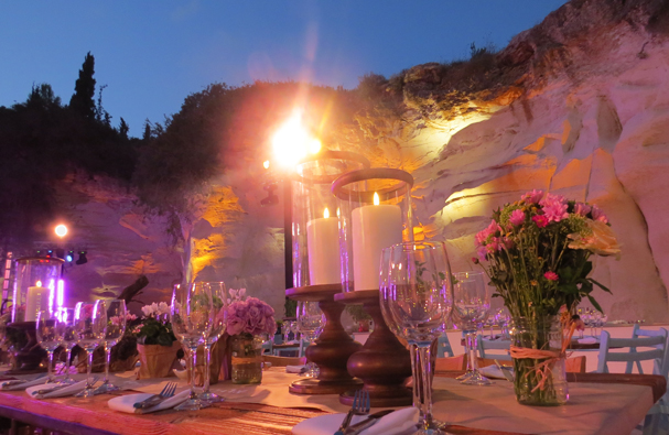 Wedding setup at Beit Guvrin. Photo courtesy of Danny Marx Productions