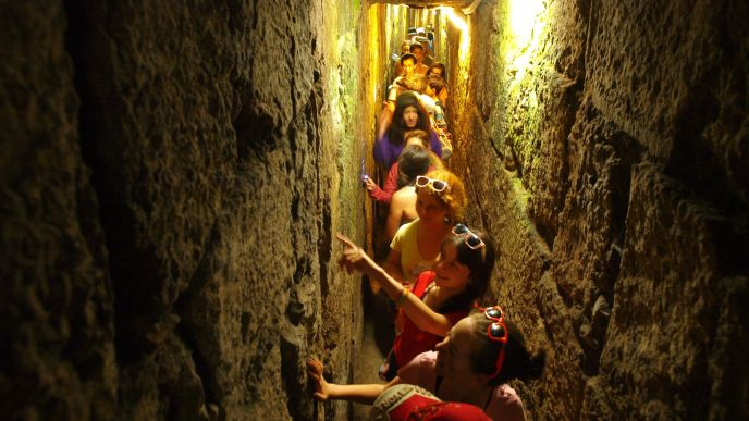 Children explore the tunnels under the Old City of Jerusalem. Photo by Jerusalem Municipality