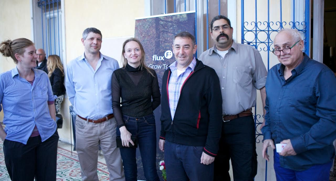 The Flux team, from left, Mor Bareli, design; Nir Hertzman, cofounder and VP operations; CEO Karin Kloosterman; chairman Tal Catran; cofounder and CTO Amichai Yifrach; and engineering adviser Meir Bareli. Photo by Dana Meirson