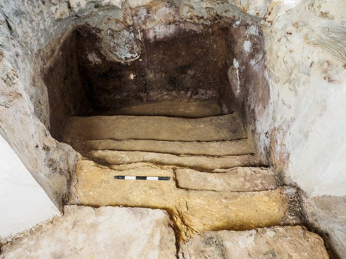 The mikvah under the floor. Photo by Assaf Peretz, courtesy of the Israel Antiquities Authority.