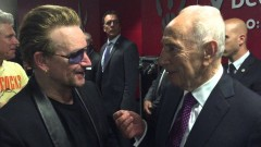 Bono and Peres, two men of peace. Photo via YouTube