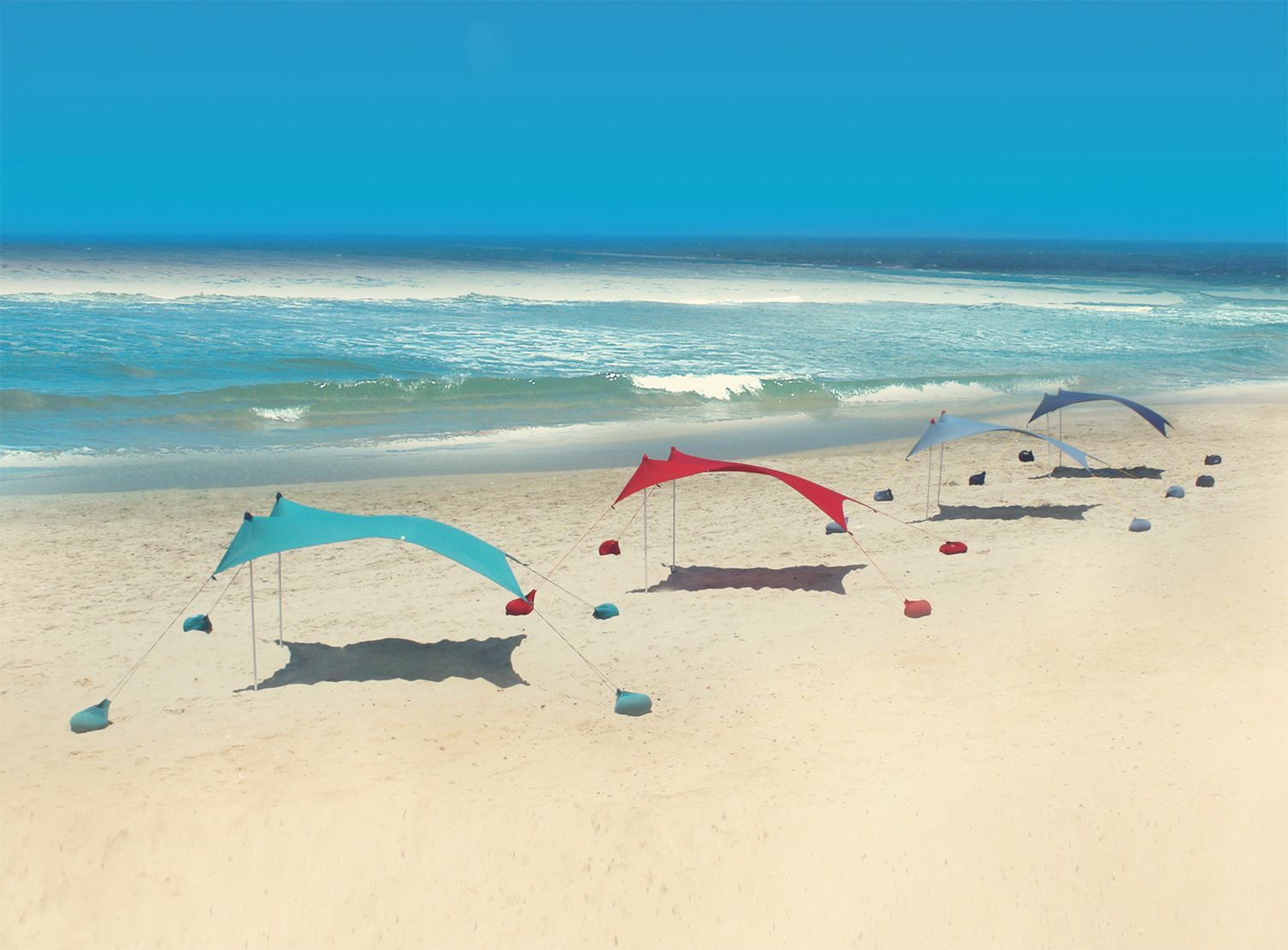 Lots of Otentik sunshades dot beaches. Photo: courtesy