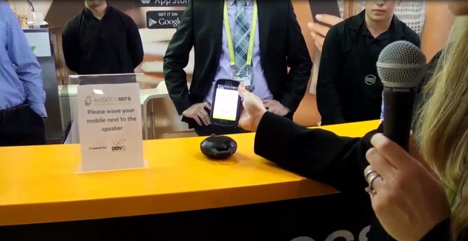 Using the Amdocs Mobile Wallet with DOV-E tech inside. Photo courtesy of DOV-E