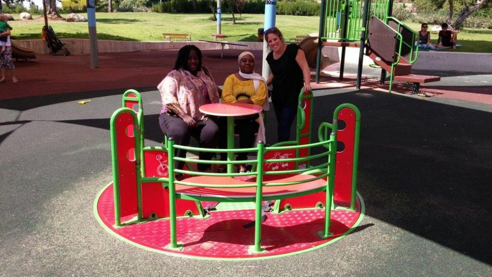 Osuntusa, Askayo and Abdul Kadir in Friendship Park. Photo courtesy of Beit Issie Shapiro