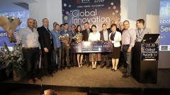 JVP partners and representatives of Shengjing360 present Wayerz, DiaCardio, SecuriThings with award for Israel stage semi-finals of the Shengjing Global Innovation Awards 2015. (Photo Credit: Different Vibe)