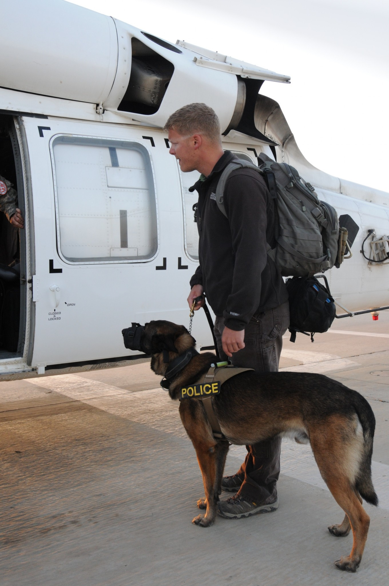 Dano and his handler Staff Sgt. John Breyer preparing to board a UH-60 Black Hawk from MFO's North Camp in Egypt to get emergency care for Dano in Israel. Photo by US Army Capt. Jennifer Dyrcz, Task Force Sinai Public Affairs