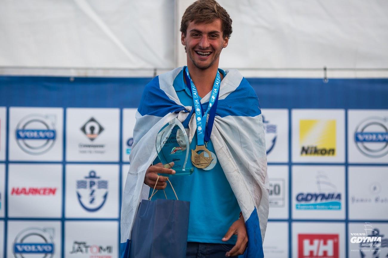 Yoav Omer celebrates gold in the RS:X Youth Men category.  (Photo: Robert Hajduk/ShutterSail.com)