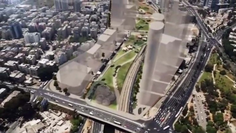 Illustration of park above Tel Aviv's Ayalon Highway. (Simulation: Viewpoint)