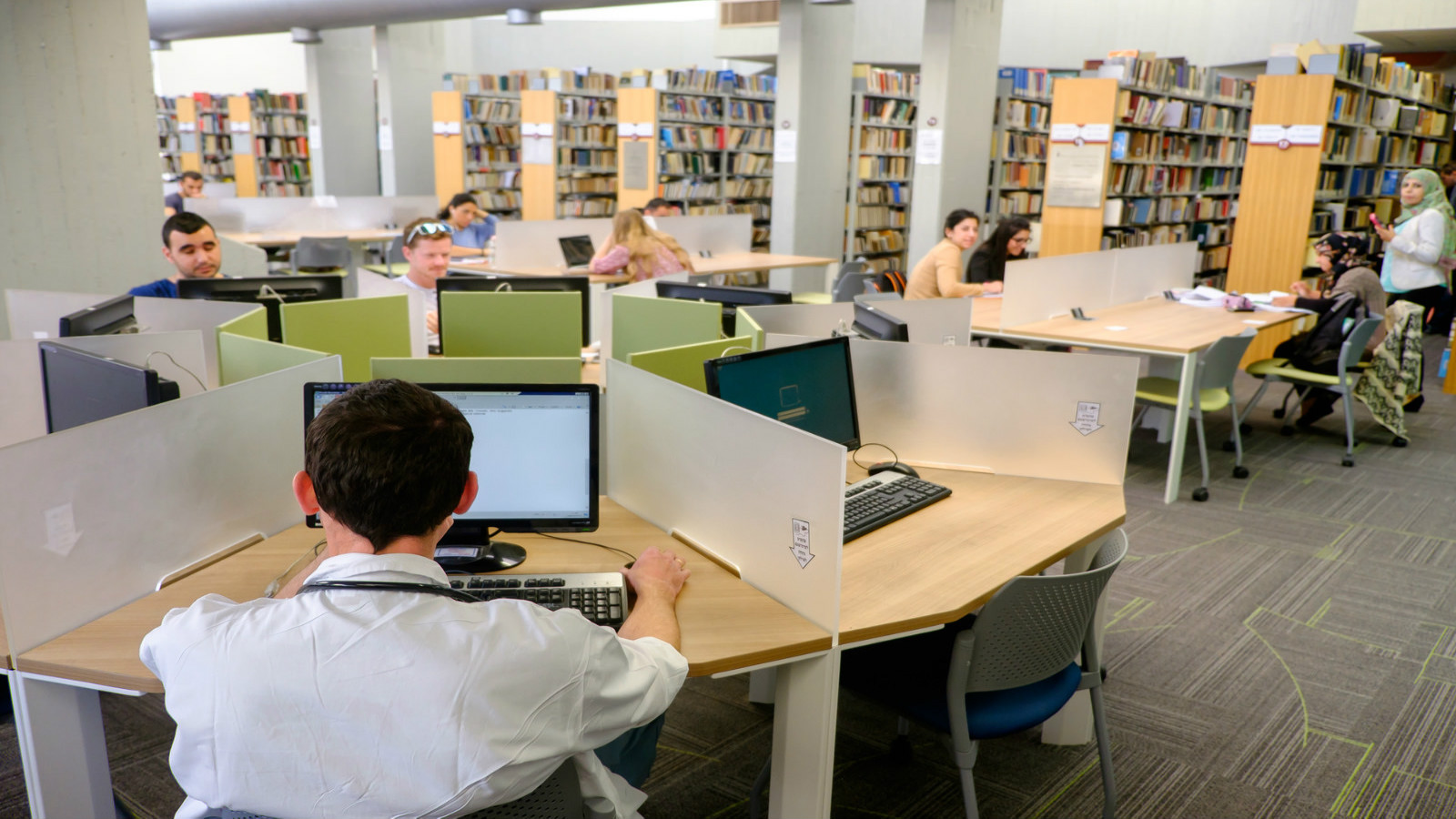 Students of different ethnicities study in the university's newly renovated Zalman Aranne Central Library. Photo by Dani Machlis/BGU