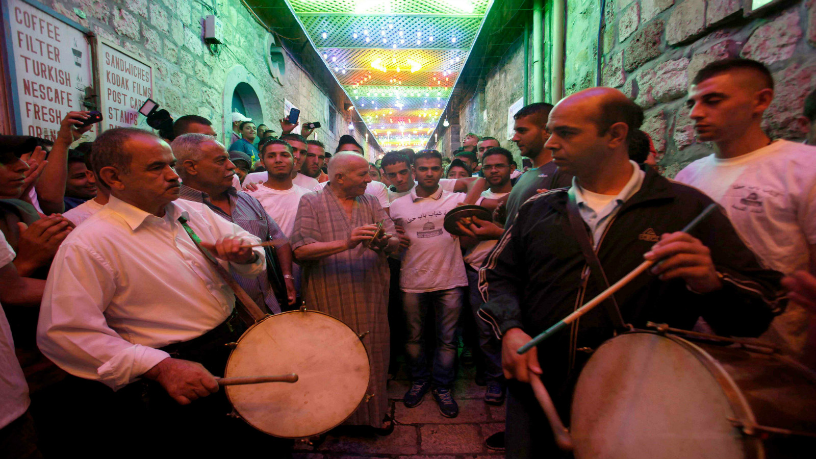 A drumming group gathers on the first night of Ramadan in Jerusalem's Old City. Photo by Sliman Khader/FLASH90