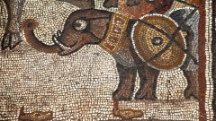 An elephant decorates the 5th century mosaic.  Credit: Jim Haberman