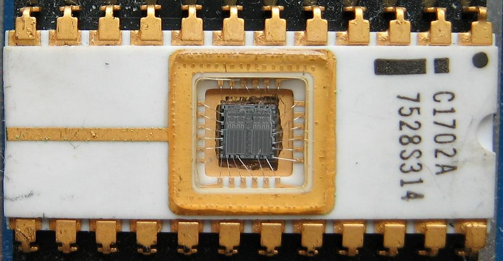 The Intel 1702A was one of the earliest EPROM chips. Photo via Wikipedia