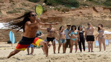 Kapau is a hybrid of beach paddleball and tennis. Photo: courtesy