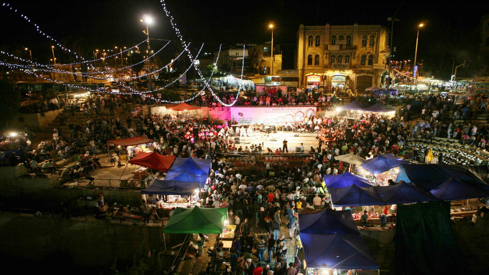Ramadan nights in the Muslim Quarter of Jerusalem's Old City. Photo by Sliman Khader/FLASH90