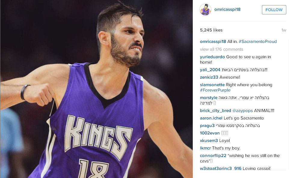 Omri Casspi posts a photo on his Instagram account in Sacramento colors.