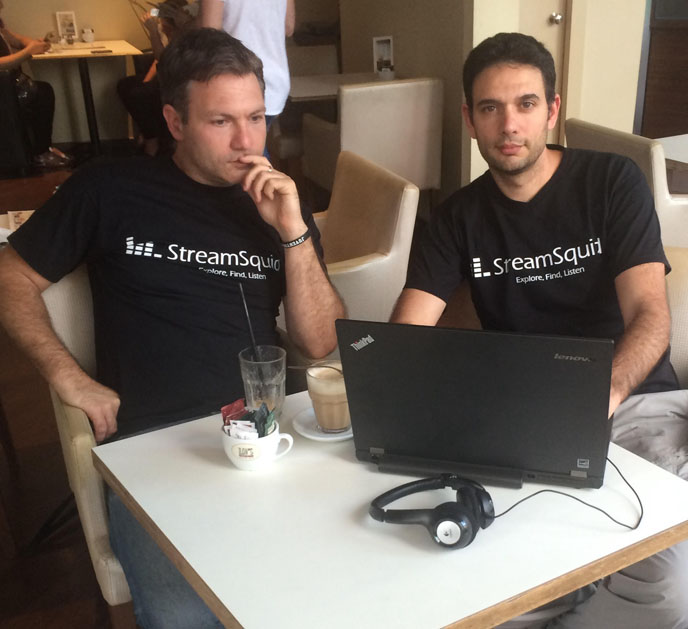 StreamSquid's Ziv Waksman and Itzik Ben-Basat meet at a cafe to code. (Courtesy photo)