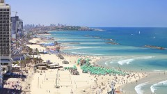 Tel Aviv's famous beachline. Photo via www.shutterstock.com