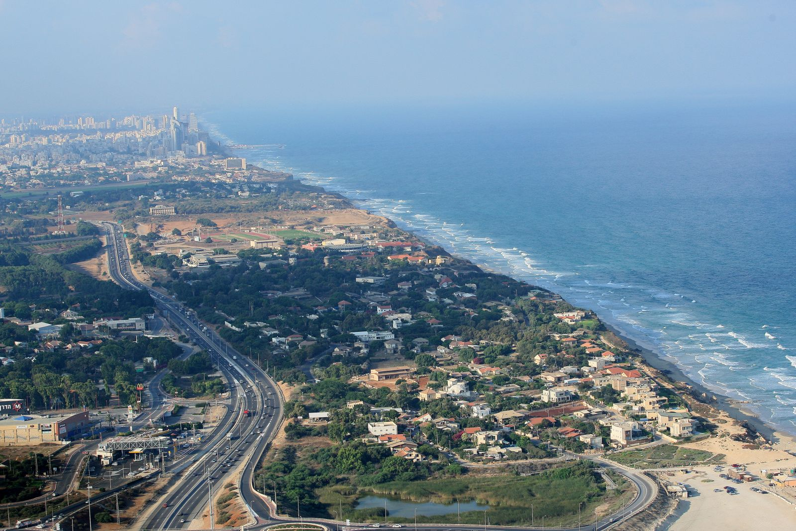 An aerial view of Beit Yanai Beach, near Netanya. Photo by Moshe Shai/FLASH90