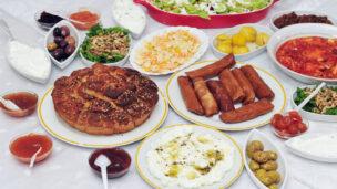 A sampler of Israeli cuisine. Image via Shutterstock.com