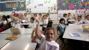 First Grade students seen in class on the first day of school at the Ben Gurion Elementary School in Rehavia, Jerusalem. Photo by Yossi Zamir/Flash90