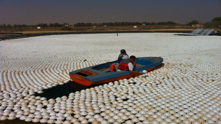 These aren't ordinary plastic balls. They do much more than shade the water. Photo courtesy NeoTop Water Systems