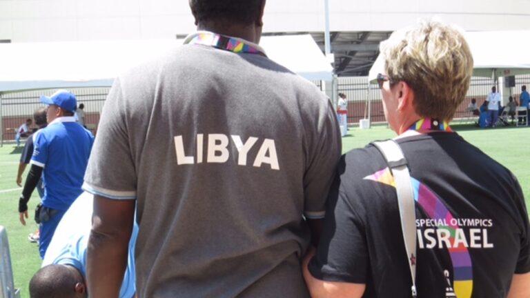 Vicki Oren with Libyan coach. Photo: courtesy