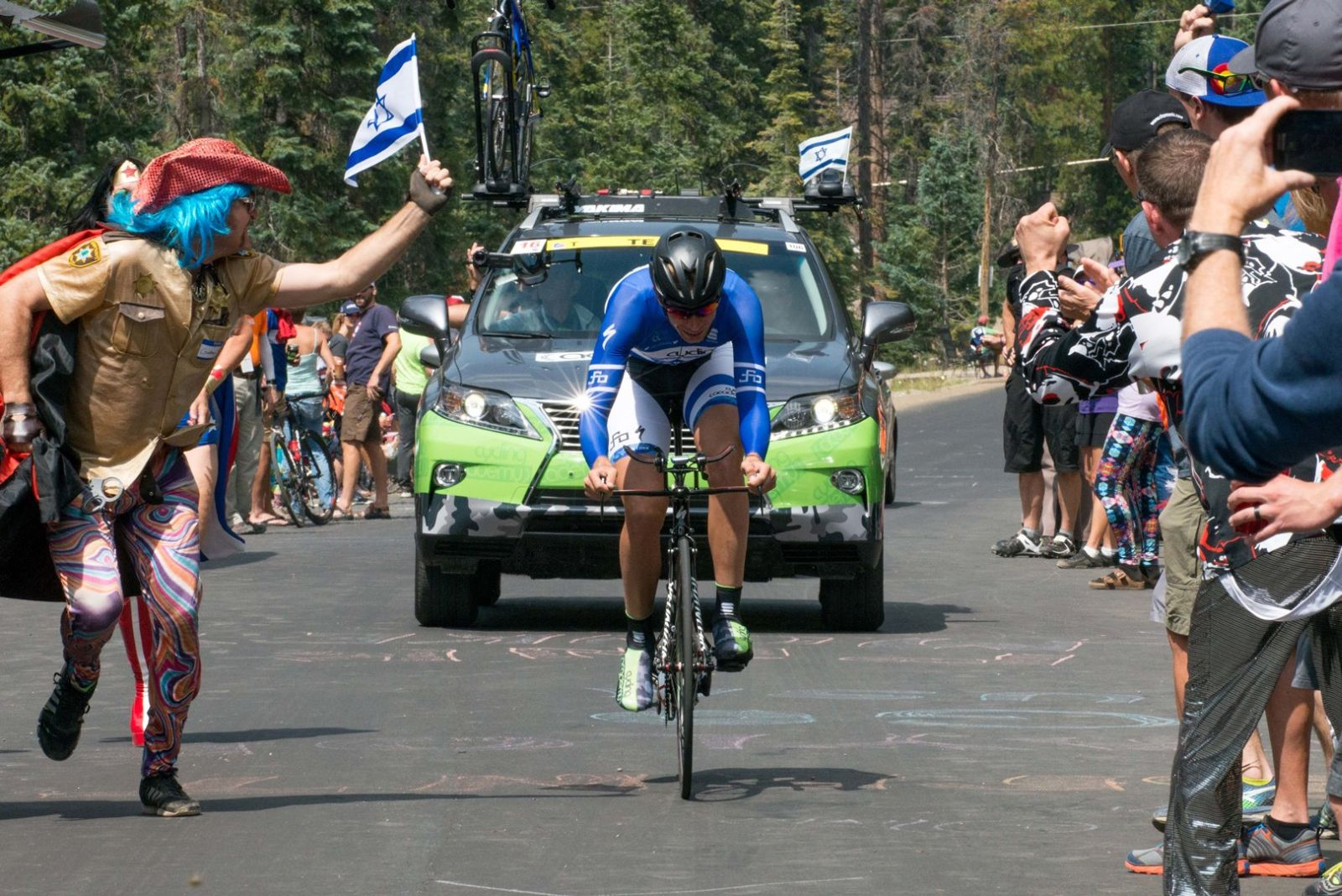 Team Cycling Academy's Dan Turek being cheered on at USA Pro Challenge in Denver. Photo by John Pearce