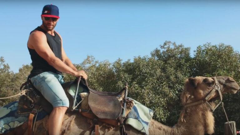 Julian Edelman atop a camel. Photo: YouTube screen shot