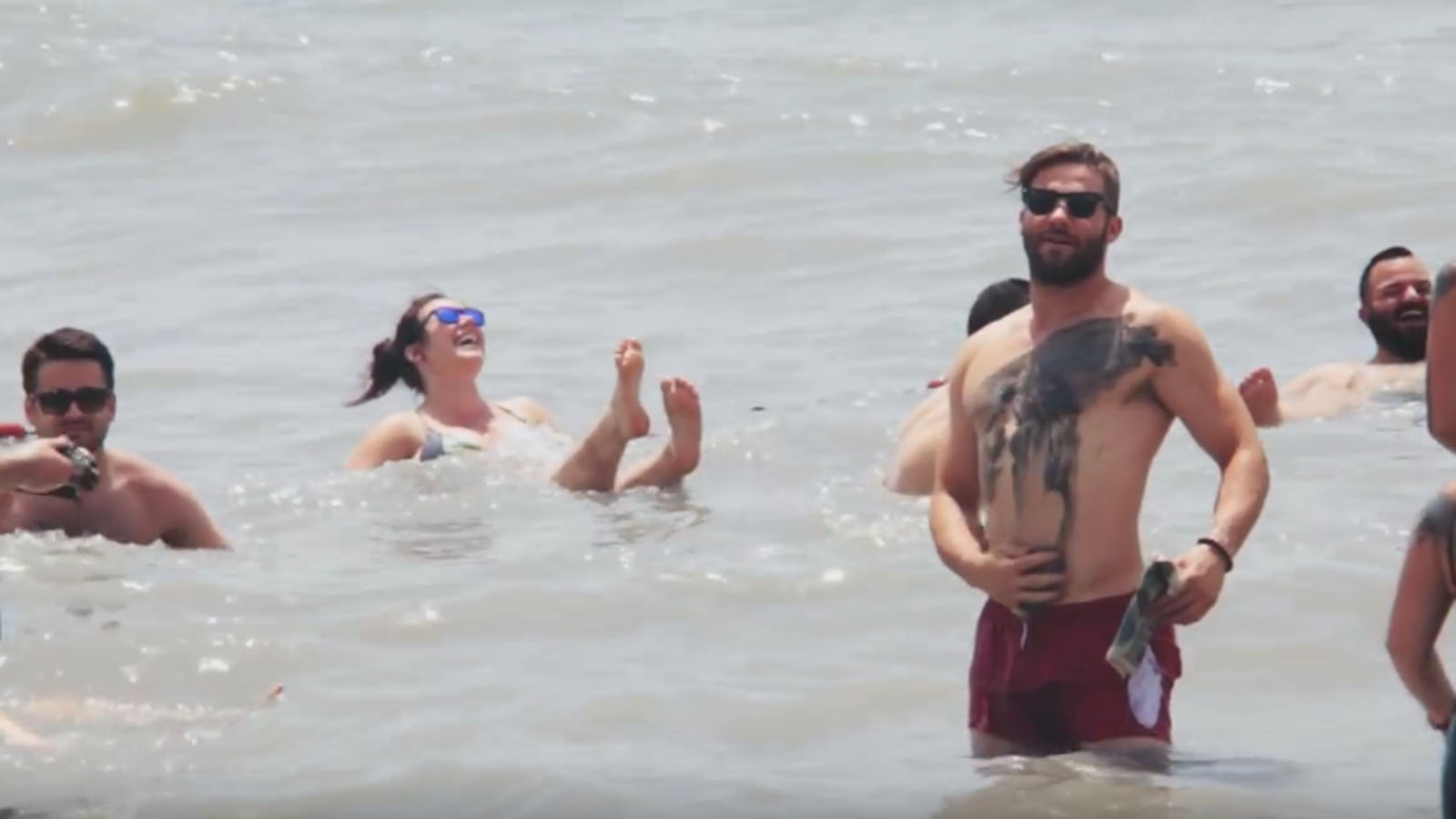 Julian Edelman at the Dead Sea. Photo: YouTube screen shot