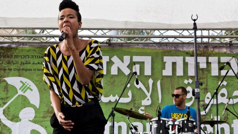 Ester Rada performing in Tel Aviv. Photo by Oren Rozen