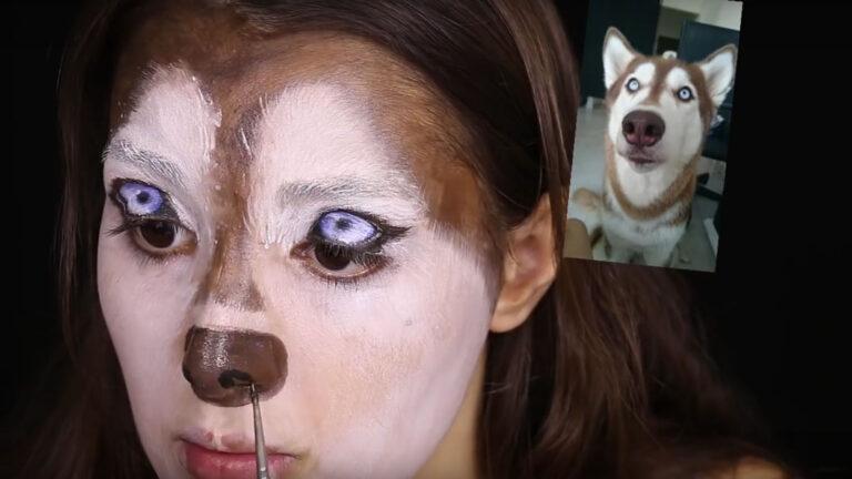 Kolihanov painted her eyelids to match her dog's eyes. Screenshot from Ilana Kolihanov's YouTube video
