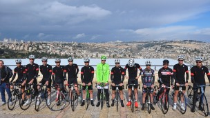 Team Cycling Academy at the promenade overlooking Jerusalem. Photo: Tim de Waele/TDWSport.com