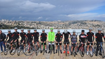 Team Cycling Academy at the promenade overlooking Jerusalem. Photo: Tim de Waele/TDWSport.com