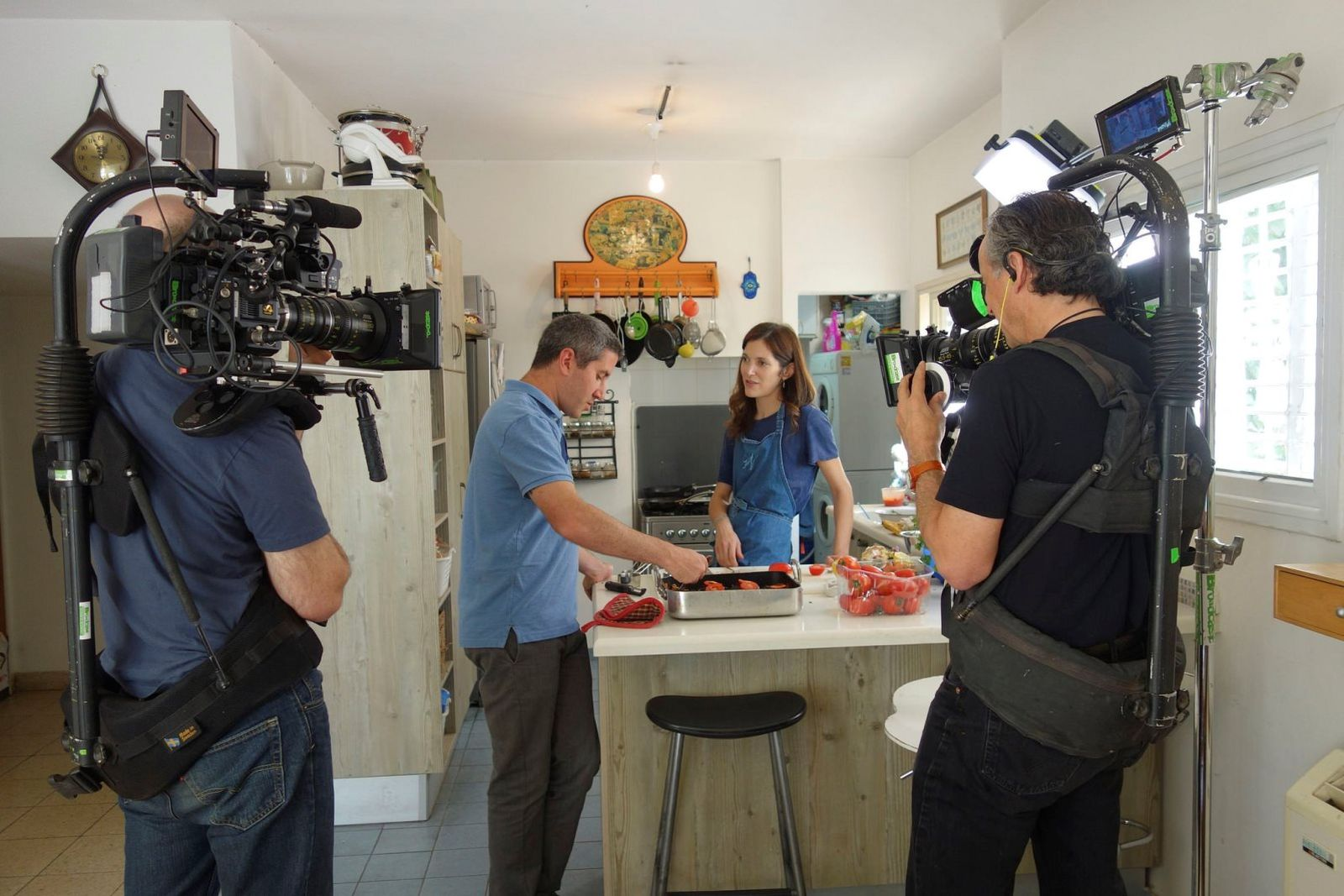 Solomonov being filmed in the kitchen of Krav Sakinim (Israel's Iron Chef) judge Ruthie Rousso. Photo courtesy of Florentine Films