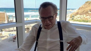 Larry King's selfie overlooking Tel Aviv's beaches. Photo: Facebook