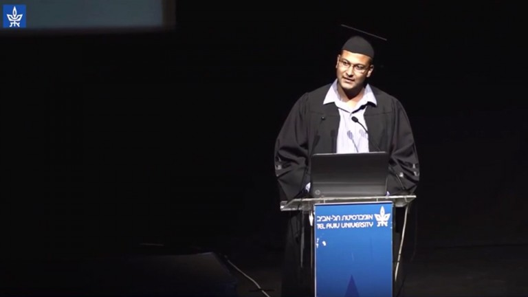 Haisam Hassanein addresses Tel Aviv University master's students. Photo: Screen shot from YouTube